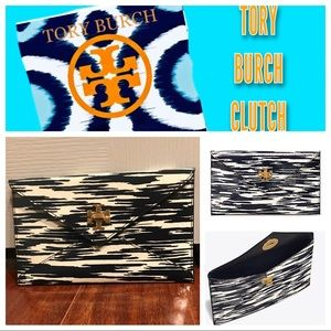 Tory Burch- Navy Space envelope clutch